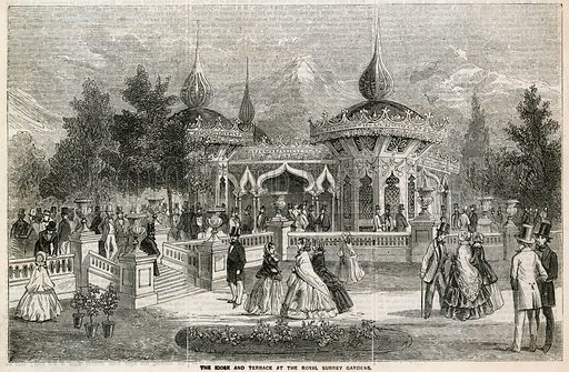 The Kiosk and Terrace at the Royal Surrey Gardens. From the Illustrated Times, 19 July 1856.