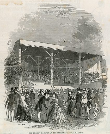 The Concert Monstre at the Surrey Zoological Gardens. From the Illustrated London News, 28 June 1845.