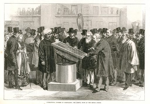 International Congress of Orientalist Examining the Rosetta Stone at the British Museum. From the Illustrated London News, 26 September 1874.