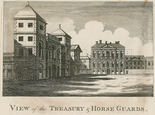 The Treasury. Built on the site of Cockpit. Designed by Kent. Completed 1736.