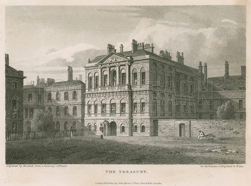 The Treasury.  Built on the site of Cockpit.  Designed by Kent.  Completed 1736.  Engraving published 1814.