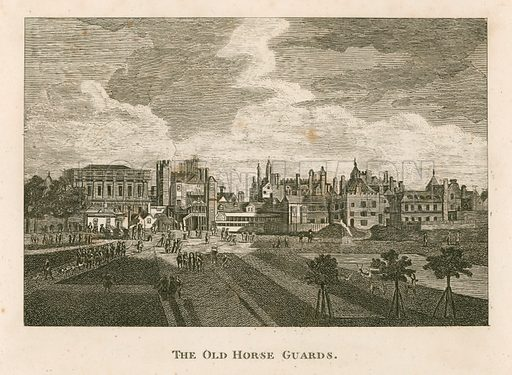 The Old Horse Guards from St James's Park.  From an oil painting by Hendrick Danckerts, 1674.