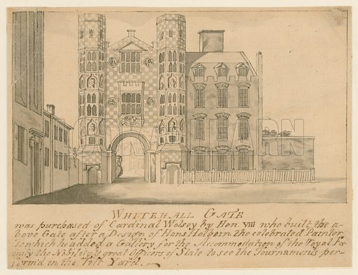 A Gate belonging to the Old Palace of Whitehall. Original 18th century drawing.
