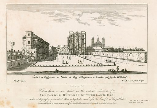 Whitehall in the 17th century. Later copies of Israel Silvestre's etching.
