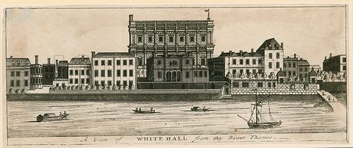 Whitehall from the river Thames.