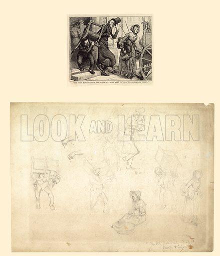 Illustration for Charles Dickens's Old Curiosity Shop.  Original artwork together with engraving.