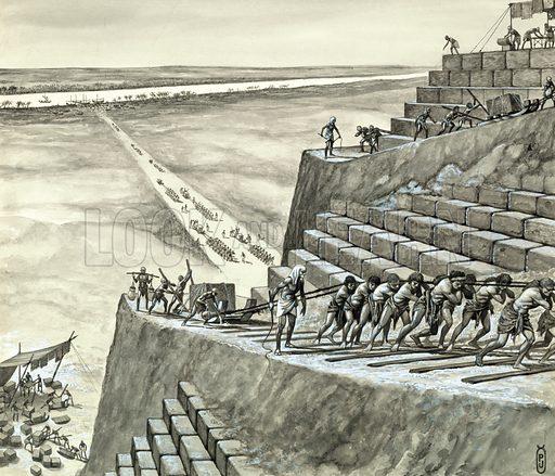 Building the great pyramid at Giza.  Original artwork.