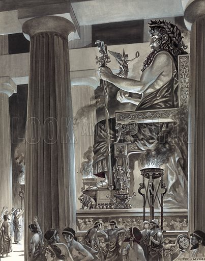 Statue of Zeus at Olympia.  Original artwork.