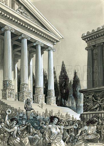 Temple of Diana at Ephesus.  Original artwork.