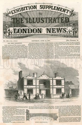Prince Albert's Model Lodging House, Great Exhibition, 1851.  From the Illustrated London News, 14 June 1851.
