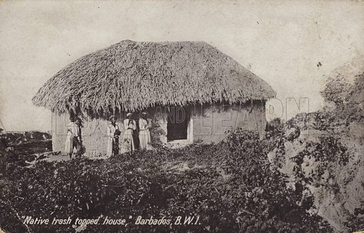 Native trash-topped house, Barbados.