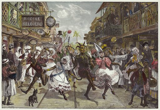 Carnival in Port of Spain, Trinidad. By WH Overend after a sketch by Melton Prior. From the Illustrated London News, 5 May 1888. Hand-coloured in the Victorian style.