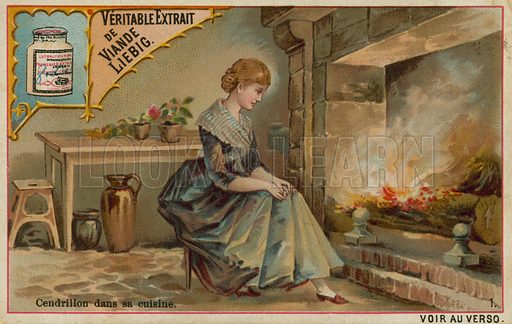 Cinderella by the Kitchen Fire.  Liebig card, late 19th century/early 20th century.