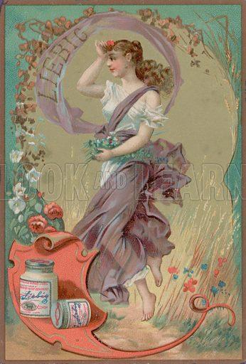 Folk Girl in Purple.  Liebig card, late 19th century/early 20th century.