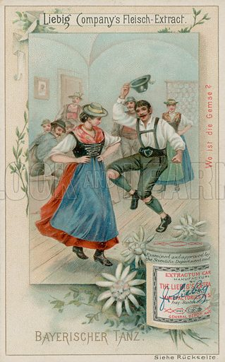 Bavarian Dance. Liebig card, late 19th century/early 20th century.