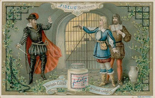 Beethoven's Fidelio.  Liebig card, late 19th century/early 20th century.
