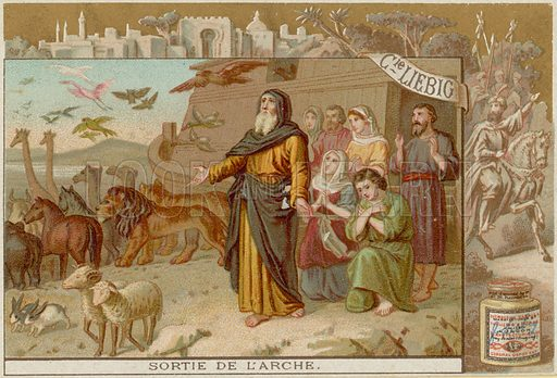 Disembarking from the Ark.  Liebig card, late 19th century/early 20th century.