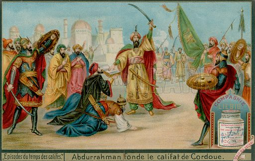 Abd-ar-Rahman III Proclaims the Caliphate of Cordoba.  Liebig card, late 19th century/early 20th century.