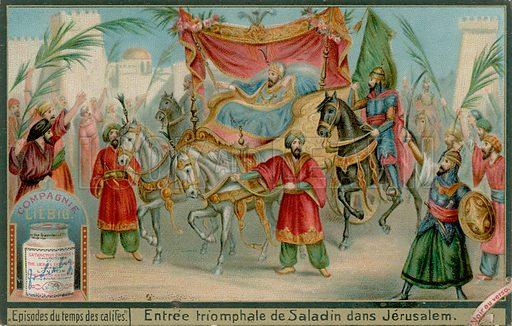 Saladdin's Entry Into Jerusalem.  Liebig card, late 19th century/early 20th century.
