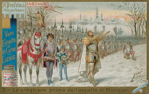 Praying Outside the Gates of Munster.  Liebig card, late 19th century/early 20th century.