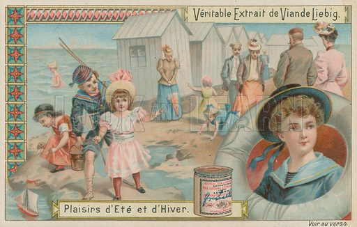 Seaside. Liebig card, late 19th century/early 20th century.
