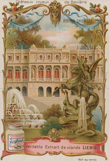 Herren Chiemsee.  Liebig card, late 19th century/early 20th century.