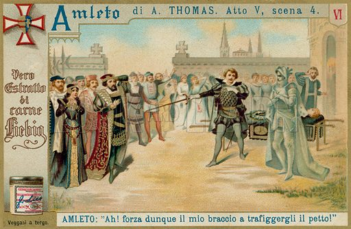 Hamlet: The Duel. Liebig card, late 19th century/early 20th century.