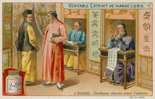 Students in China.  Liebig card, late 19th century/early 20th century.