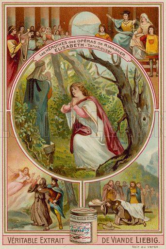 Elisabeth (Tannhauser). Liebig card, late 19th century/early 20th century.