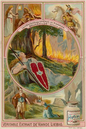 Brunnhilde (Die Walkure).  Liebig card, late 19th century/early 20th century.