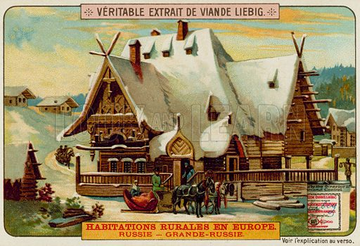 A Russian Country House.  Liebig card, late 19th century/early 20th century.