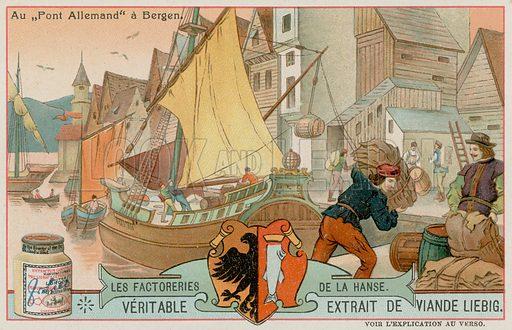 The German Bridge in Bergen. Liebig card, late 19th century/early 20th century.