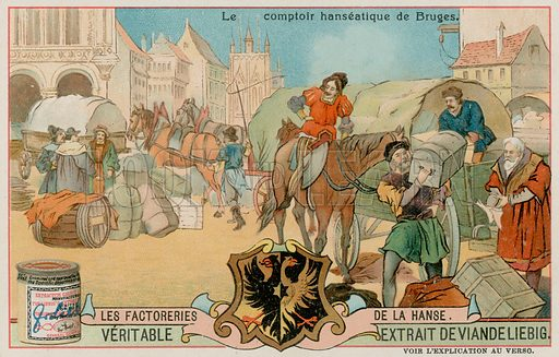 The Hanseatic Control in Bruges. Liebig card, late 19th century/early 20th century.