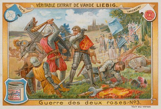 The Death of Lord Talbot and his Son.  Liebig card, late 19th century/early 20th century.