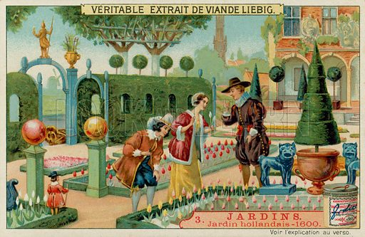 A Dutch Garden of 1600s.  Liebig card, late 19th century/early 20th century.