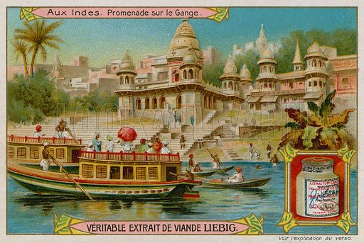 Boats on the Ganges.  Liebig card, late 19th century/early 20th century.