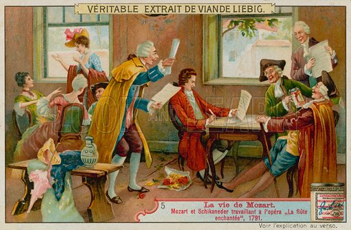 Mozart and Schikaneder Work on The Magic Flute.  Liebig card, late 19th century/early 20th century.