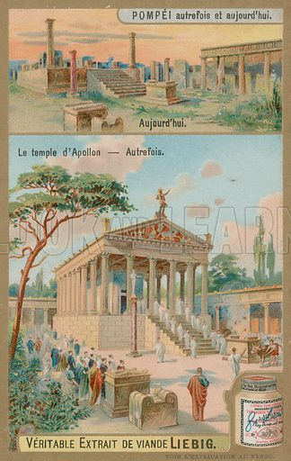 The Temple of the God Apollo.  Liebig card, late 19th century/early 20th century.