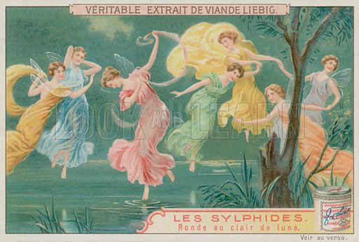 Sylphs Dancing in Moonlight.  Liebig card, late 19th century/early 20th century.