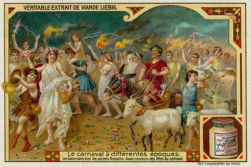 The Saturnalian Festival in Ancient Rome. Liebig card, late 19th century/early 20th century.