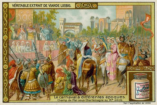 Champ de Mai Festival Under Emperor Charlemagne in the 9th Century. Liebig card, late 19th century/early 20th century.