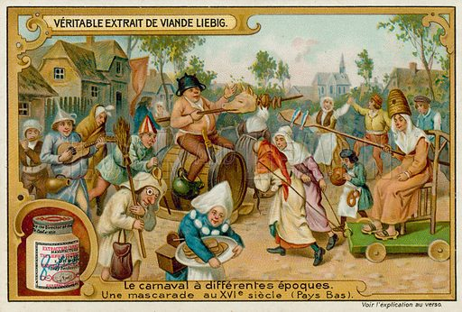 A Masquerade Carnival in the 16th Century Netherlands. Liebig card, late 19th century/early 20th century.