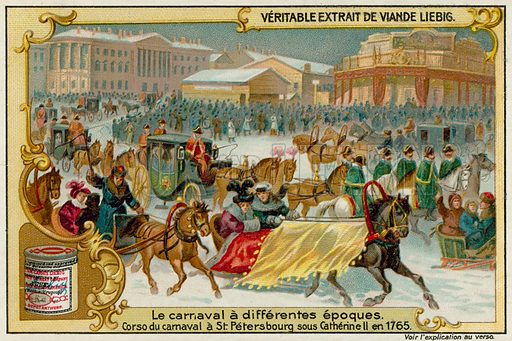 Winter Carnival in St Petersburg in 1765.  Liebig card, late 19th century/early 20th century.
