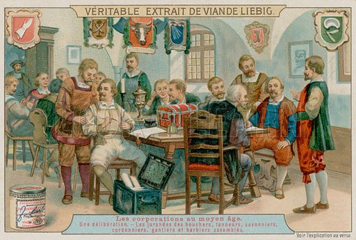 The Guilds of the Butchers, Tanners, Soap makers, Shoemakers, Glovers and Barbers Assemble. Liebig card, late 19th century/early 20th century.