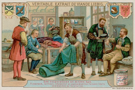 A Weaver, Tailor, Hatter and Braid Maker Give Their Orders to a Dyer. Liebig card, late 19th century/early 20th century.