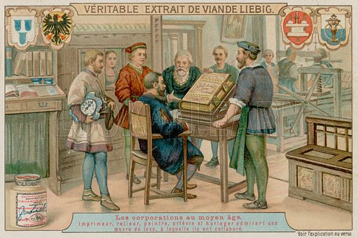 A Printer, Bookbinder, Painter, Goldsmith and Watchmaker Admire a Luxury Book They have Worked on Together. Liebig card, late 19th century/early 20th century.