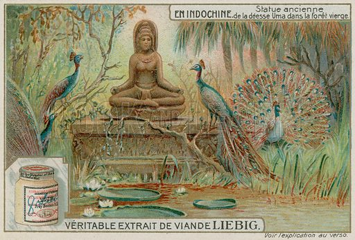 Statue of the Goddess Uma in a Forest with Peacocks. Liebig card, late 19th century/early 20th century.