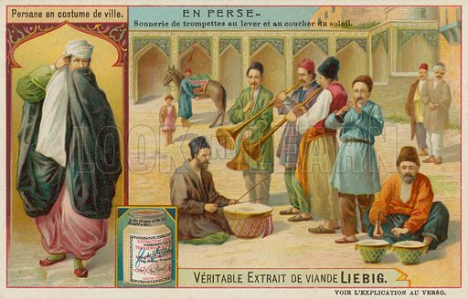 Persian Man in Street Clothes and a Band of Trumpeters and Drummers. Liebig card, late 19th century/early 20th century.