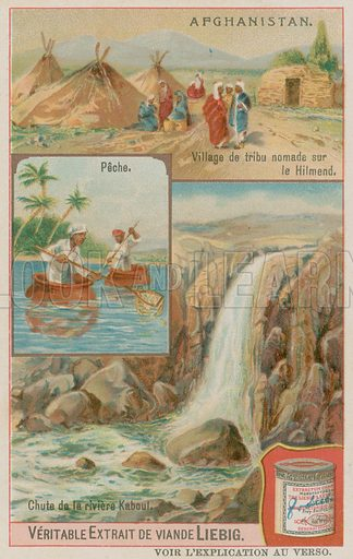 A Waterfall of the Kabul River with Fishermen and a Nomaidic Tribal Village in Helmand. Liebig card, late 19th century/early 20th century.