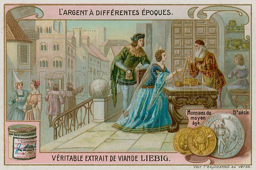 15th Century European Coins. Liebig card, late 19th century/early 20th century.